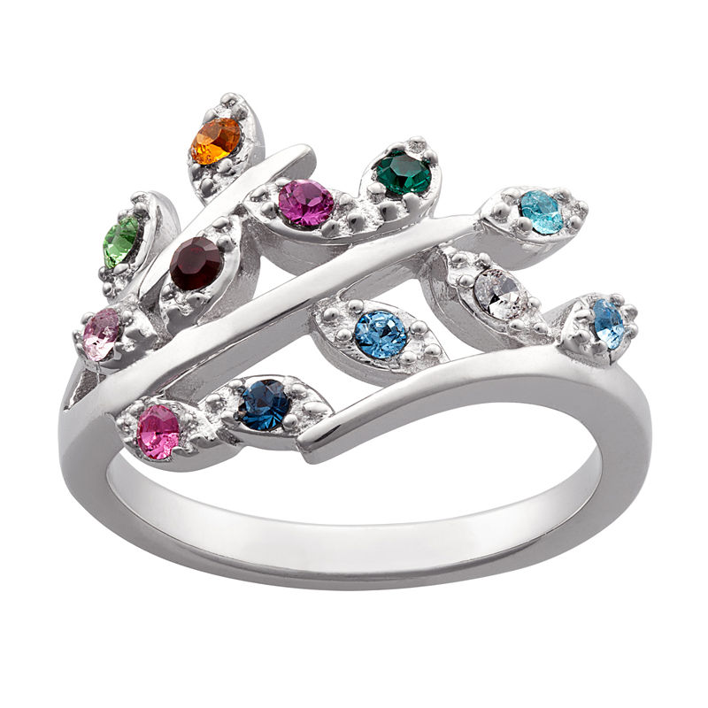 Brilliant Simulated Diamonds Birth Stones Sterling Silver Cocktail Ring