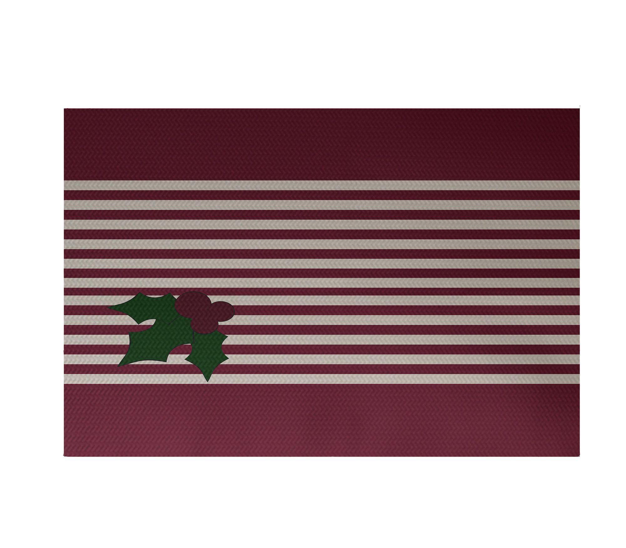 Holly Stripe Decorative Holiday Stripe Print Indoor Outdoor Rug Cranberry Burgundy Indoor Outdoor Area Rug Products Indoor Outdoor Rugs Outdoor Rugs Indo