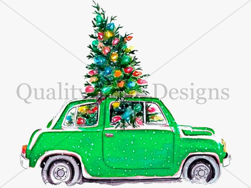 Green Christmas Tree And Car Package Multi Color Pack Car Clipart