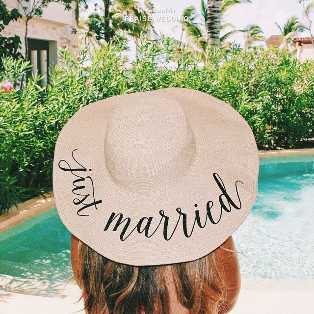 "a0ac8b0873b9d5 Adorable ""Just Married"" floppy sun hat from Shades Of Pink for your  honeymoon! » Praise Wedding Community"