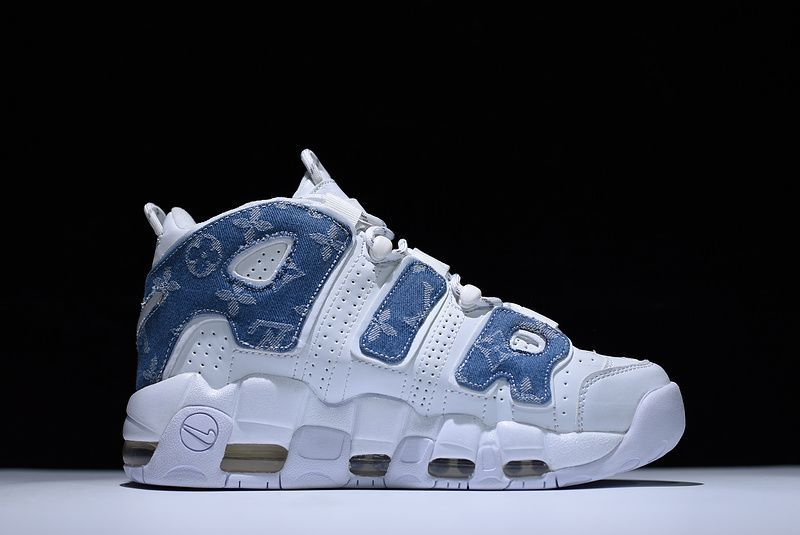 new styles 96371 efd8c New Supreme x Nike Air More Uptempo Denim White Blue Jordan Shoes For Sale,  Cheap