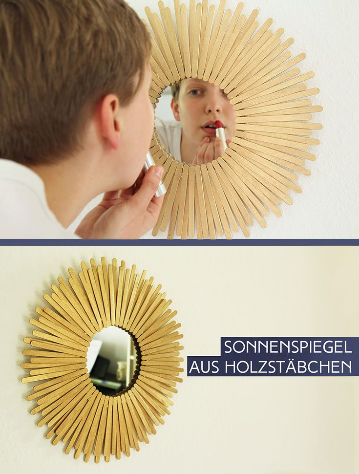 DIY: Sonnenspiegel aus Holzstäbchen | Pinterest | Letter beads ...