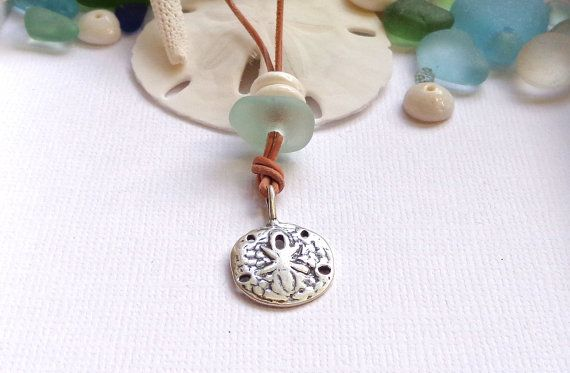Sterling Silver Sand Dollar Seaglass Necklace by GardenLeafSeaside, $26.00