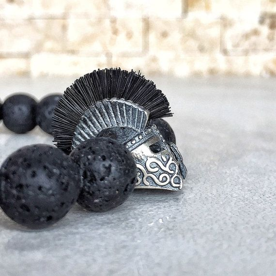 925 Sterling Silver Spartan Helmet With Brushes On The Top Of 10 Mm Lava Stone Beads And Ultra Strong Stretch Cord