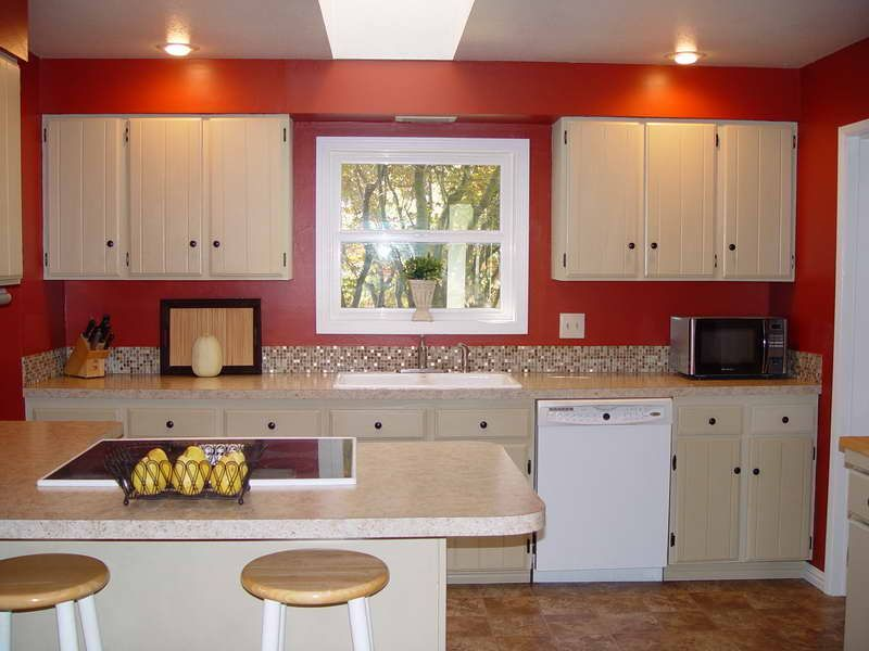 Red walls in kitchen yahoo image search results red for Grey kitchen cabinets with red walls