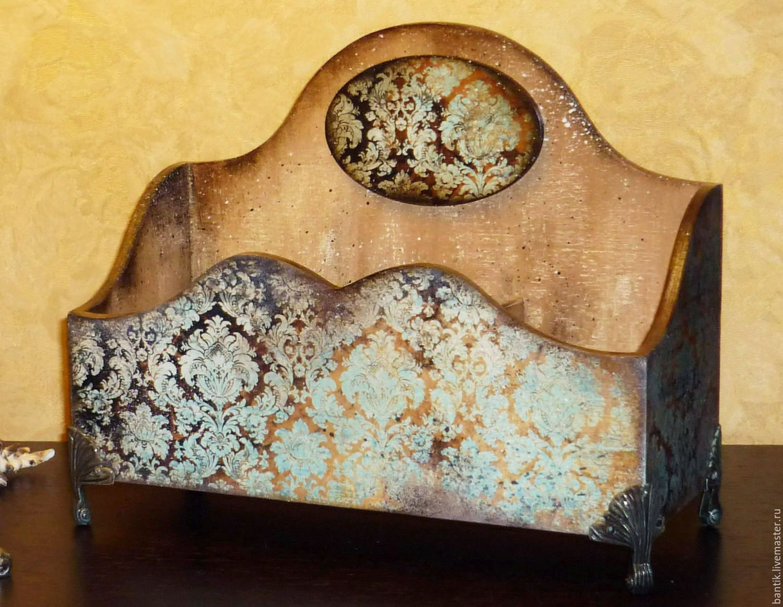 """Купить Органайзер """"Бирюзовые узоры"""" - органайзер, подставка, короб, для чая, для кухни, подарки для женщин"""