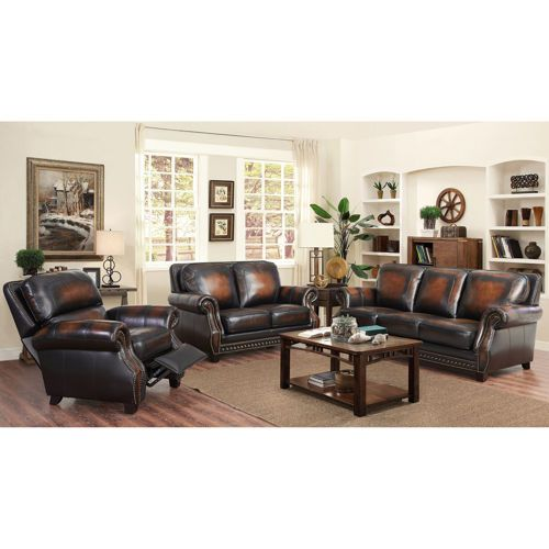 Best Arlington 3 Piece Leather Set With Pushback Recliner 400 x 300