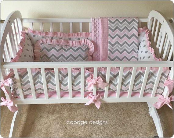 4 Piece Set Pink Gray Chevron Baby Nursery Cradle Bedding
