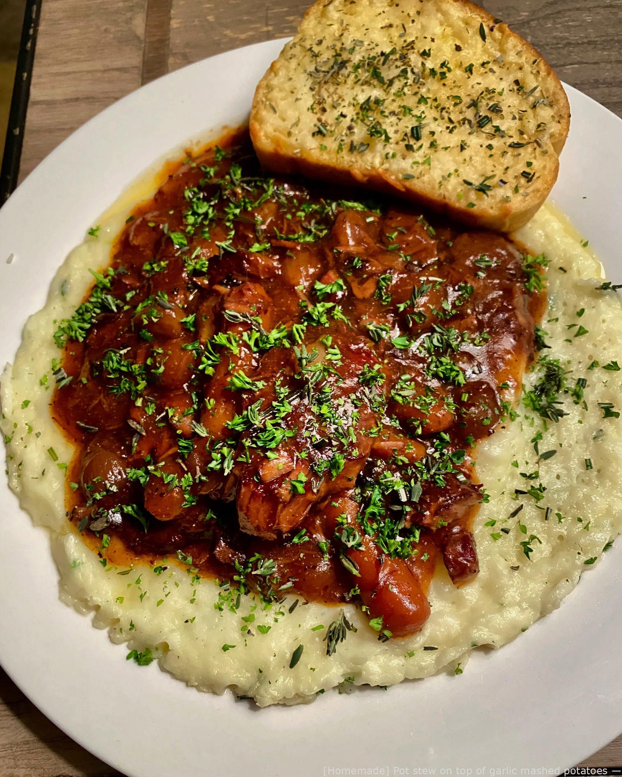 #Cooking  - [Homemade] Pot stew on major of garlic mashed potatoes – youthful #fitness food , #food...