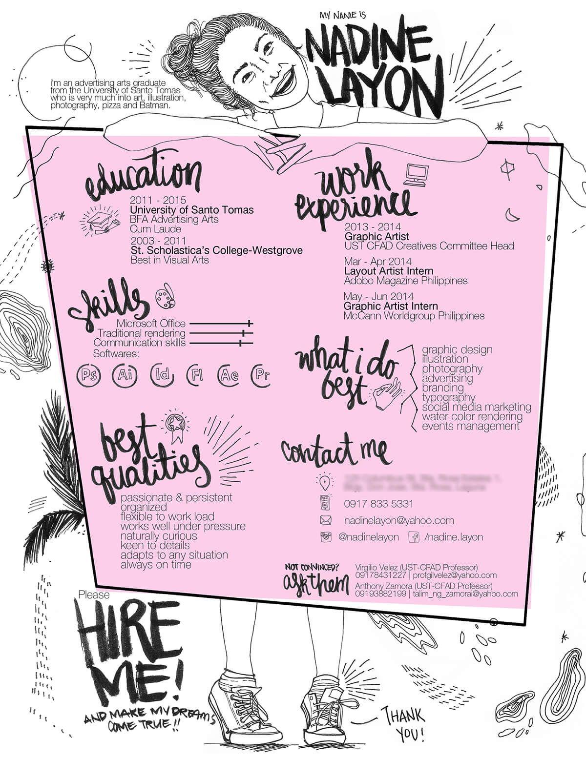 Nadine Layon Illustrated Resume Resume Design Creative Cv Design Creative Creative Cvs