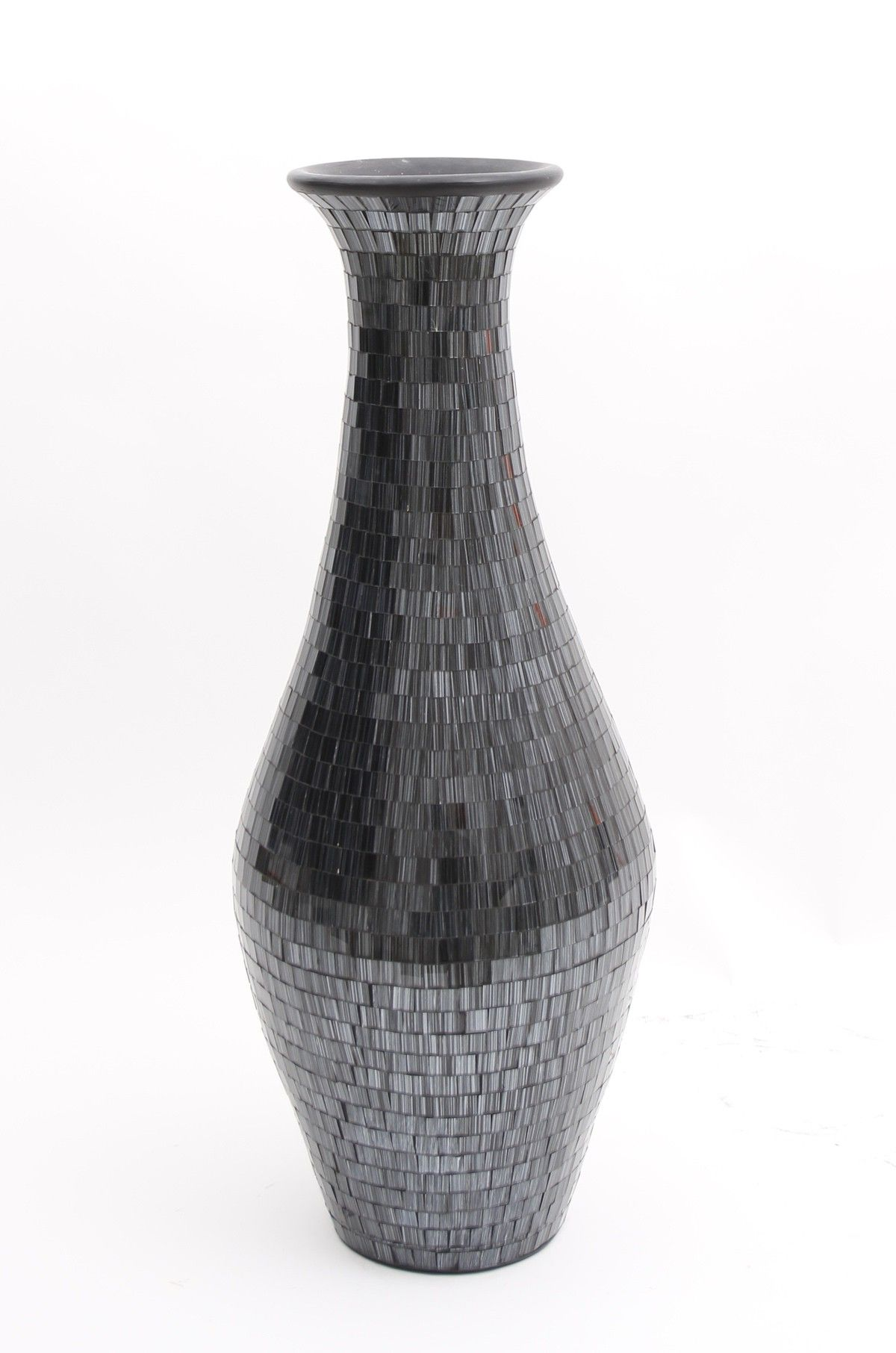tall floor vase with glass mosaic 80 cm ceramic black. Black Bedroom Furniture Sets. Home Design Ideas