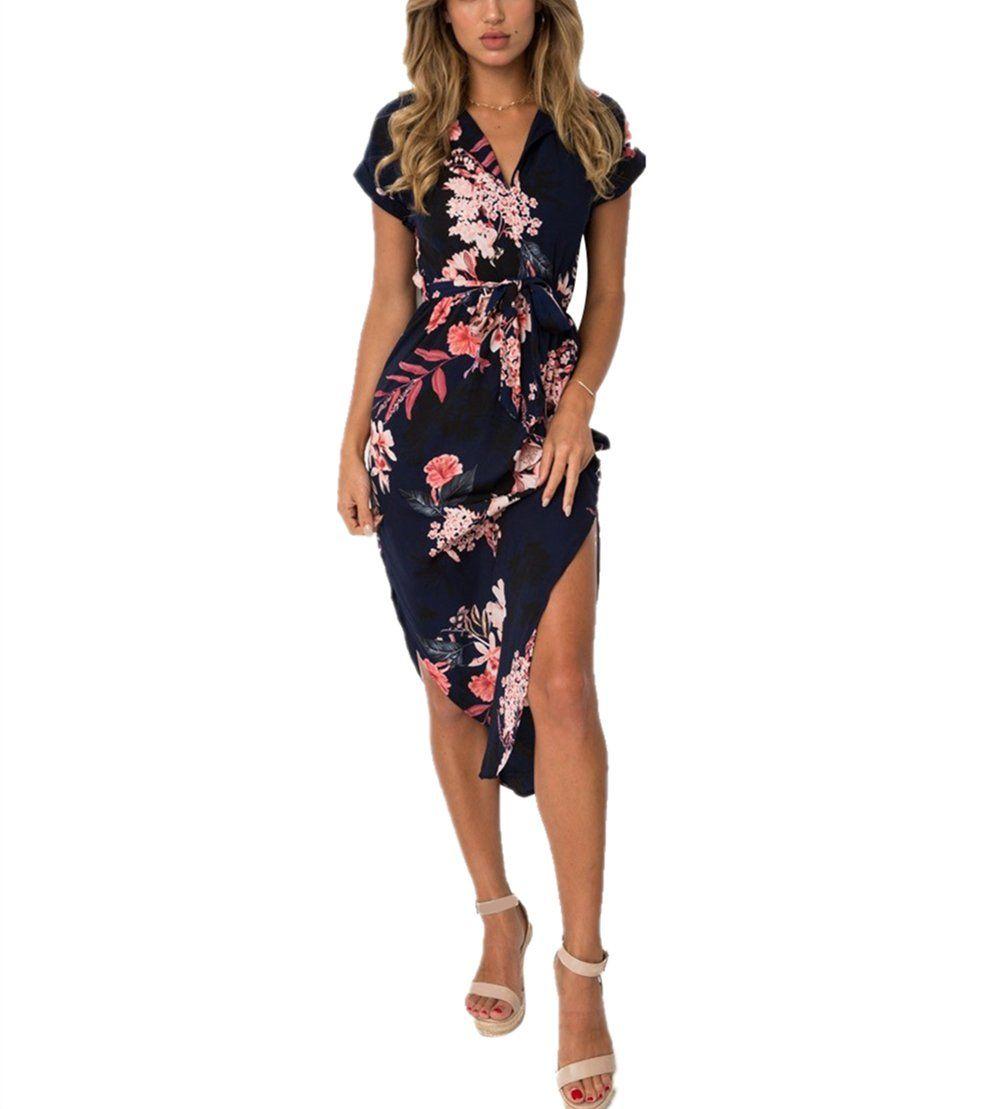 Poptem Womens Casual Midi Dresses Short Sleeve Long Skirt ...