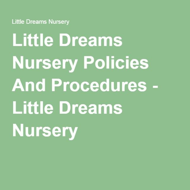 Little Dreams Nursery Policies And Procedures