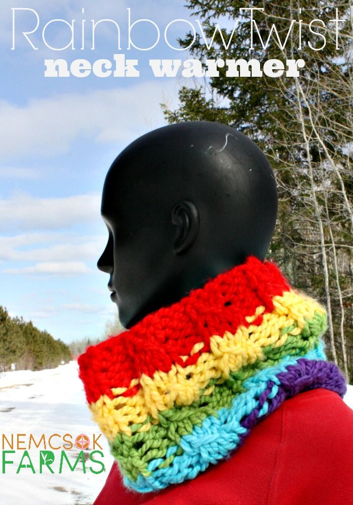 Rainbow Twist Neck Warmer | Knitting patterns, Rainbows and Tutorials