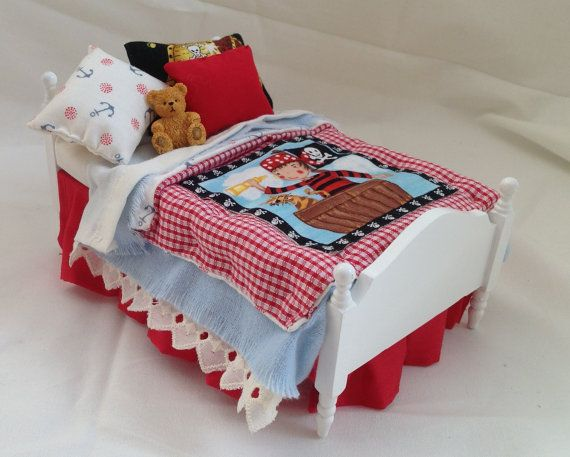 Dolls House Luxury Dressed Single Bed - Roger #bearbedpillowdolls