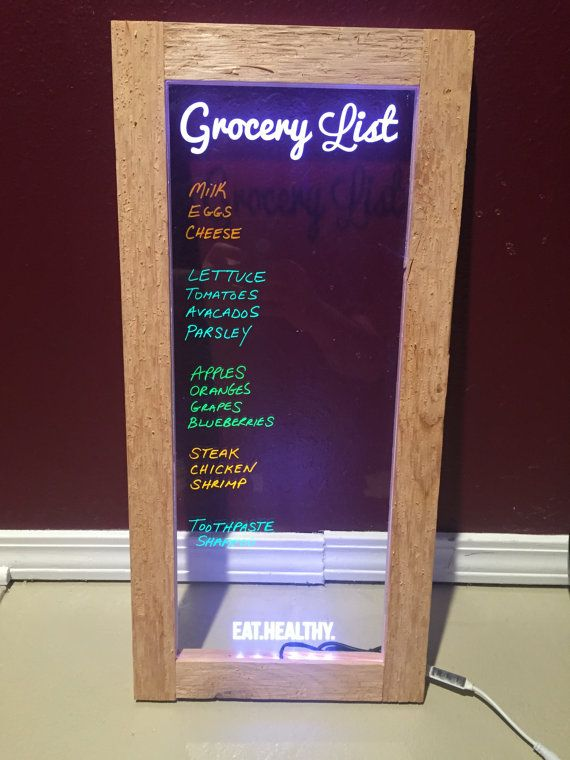 Edge Lit Led Neon Dry Erase Grocery List Board 12 Quot X 24 Quot Laser Engraved Personalized Dry Erase Glass Dry Erase Board Edge Lighting