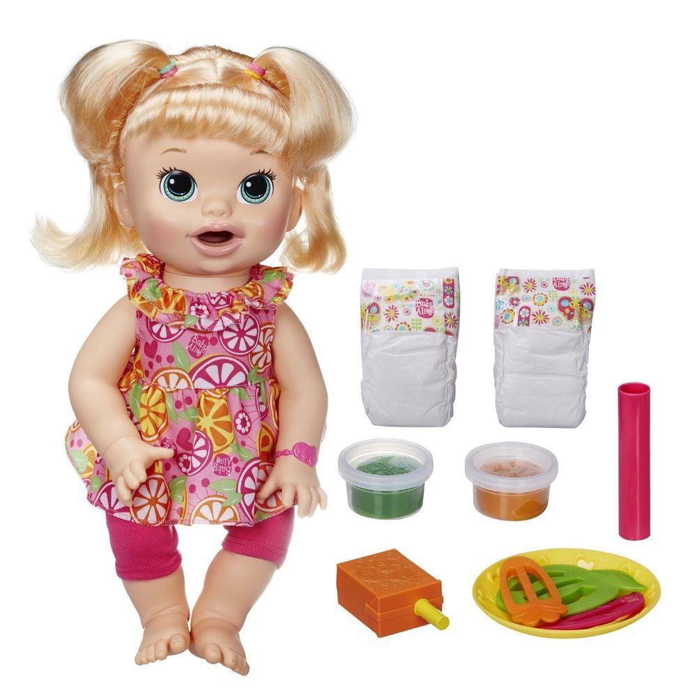 Blonde Baby Alive Doll Super Snacks Talking Eating English Spanish Snackin Sara Hasbro Baby Alive Food Baby Alive Baby Alive Dolls