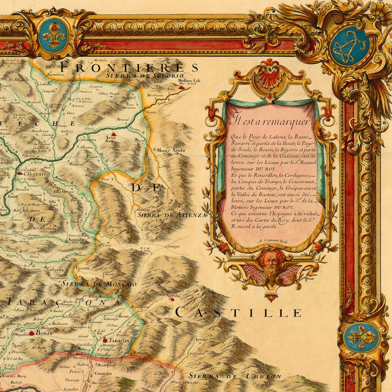 Map Of Spain France Border.Pyrenees 1730 Monts Pyrenees France Spain Border Old Map