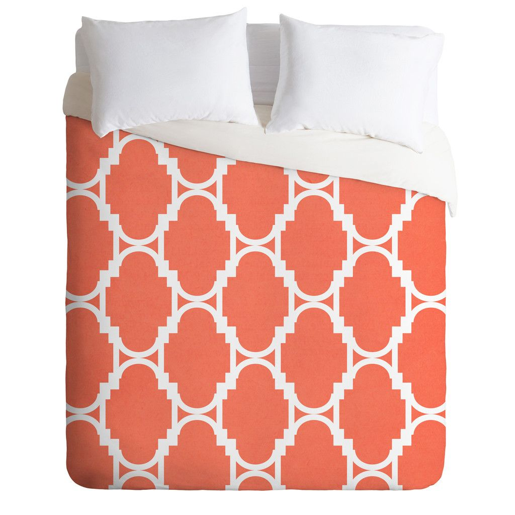 Rebecca Allen Pillow Talk Coral Duvet Cover Duvets