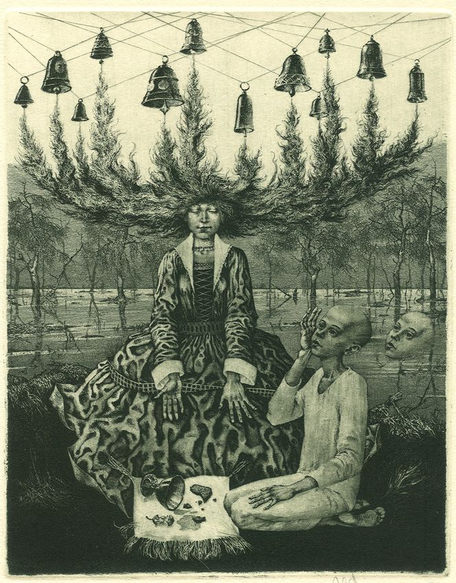 Forgotten melody. Etching, dry point, mezzotint, by Konstantin Kalynovych.