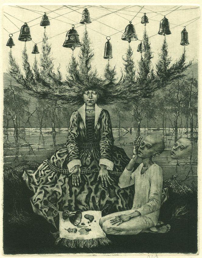 Forgotten melody. Etching, dry point, mezzotint, by Konstantin Kalynovych.