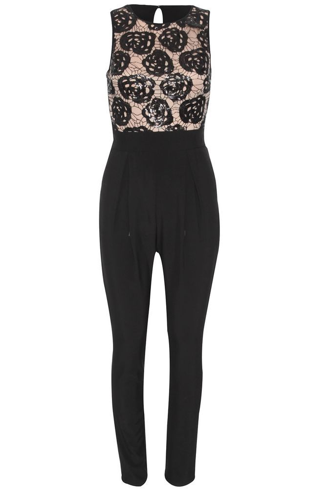 pailletten party schwarz nude jumpsuit overall anzug damen. Black Bedroom Furniture Sets. Home Design Ideas