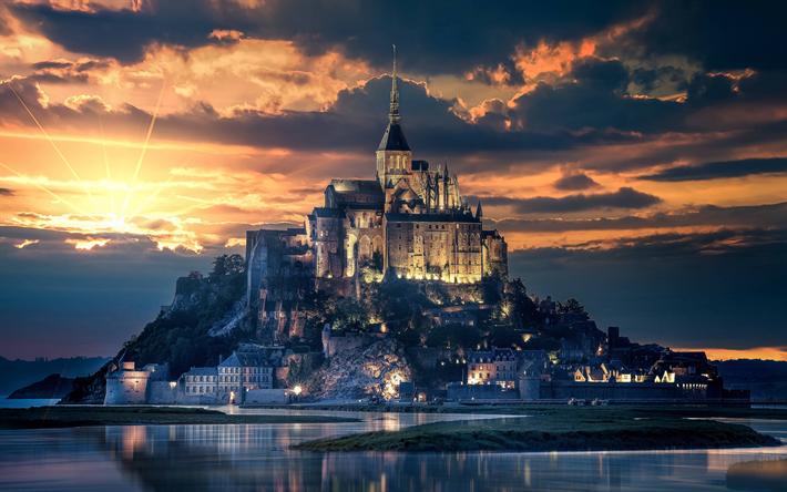 Download Wallpapers 4k Mont Saint Michel Sunset French Landmarks Island France Europe Besthqwallpapers Com Beautiful Castles France Wallpaper Castle