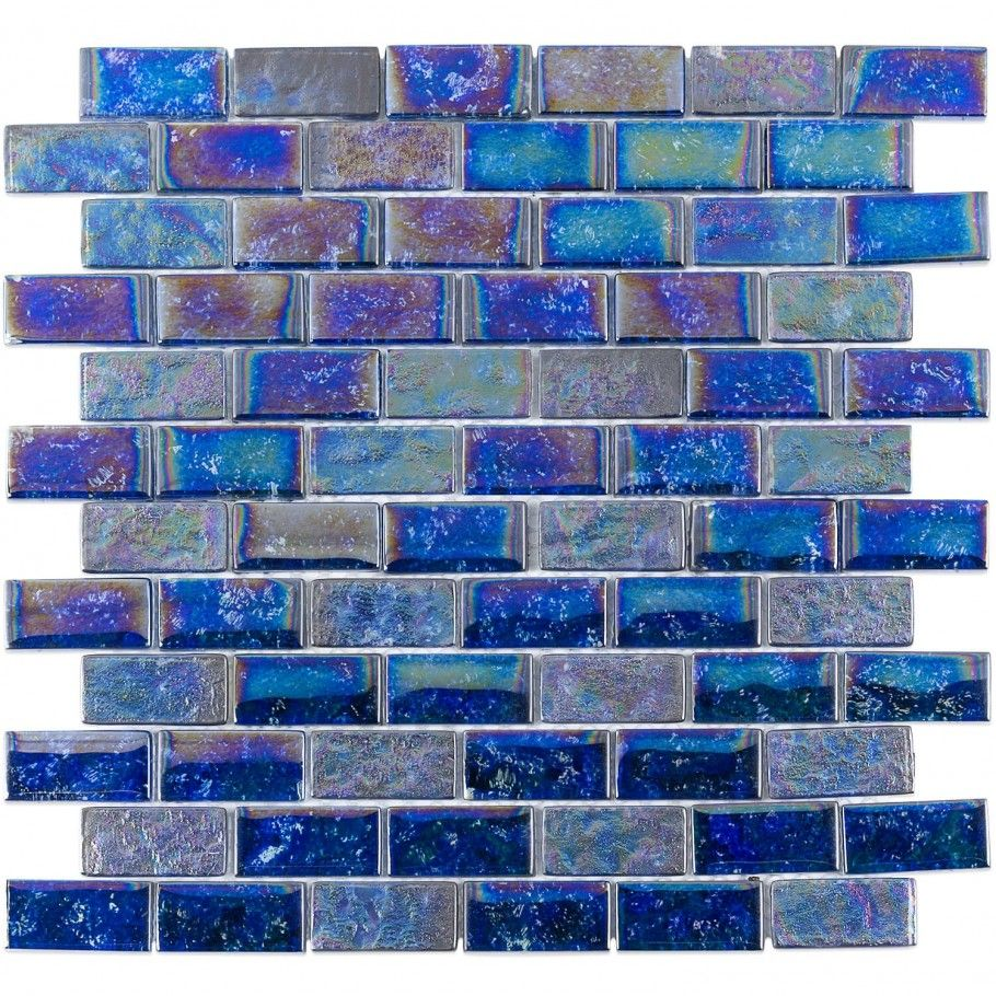 Laguna Iridescent Indigo 1x2 Brick Glass Tile in 2018 | Backsplash ...