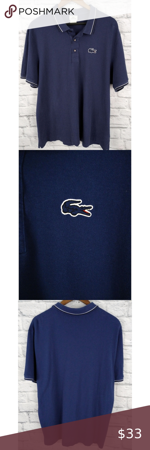 Vintage Lacoste Big Crocodile Polo Shirt Navy L Clothes Design Lacoste Polo Shirts Lacoste