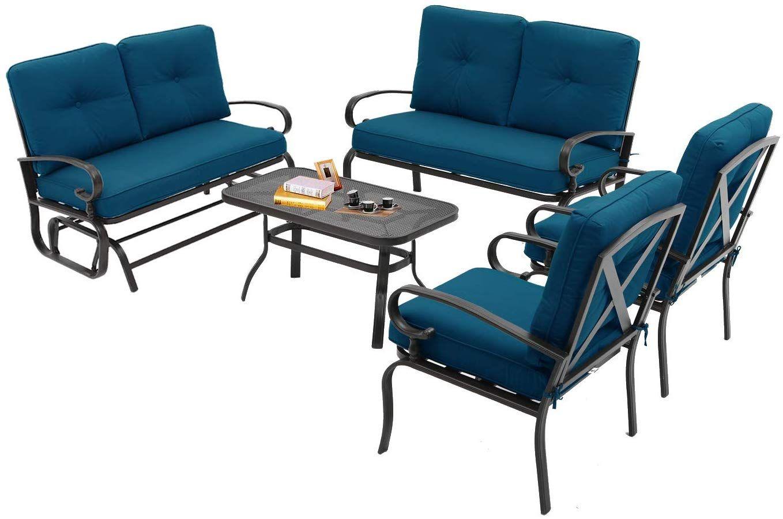 Incbruce Outdoor Indoor Furniture 6pcs Patio Conversation Set Swing Glider Loveseat Metal Outdoor Furniture Colorful Outdoor Furniture Conversation Set Patio