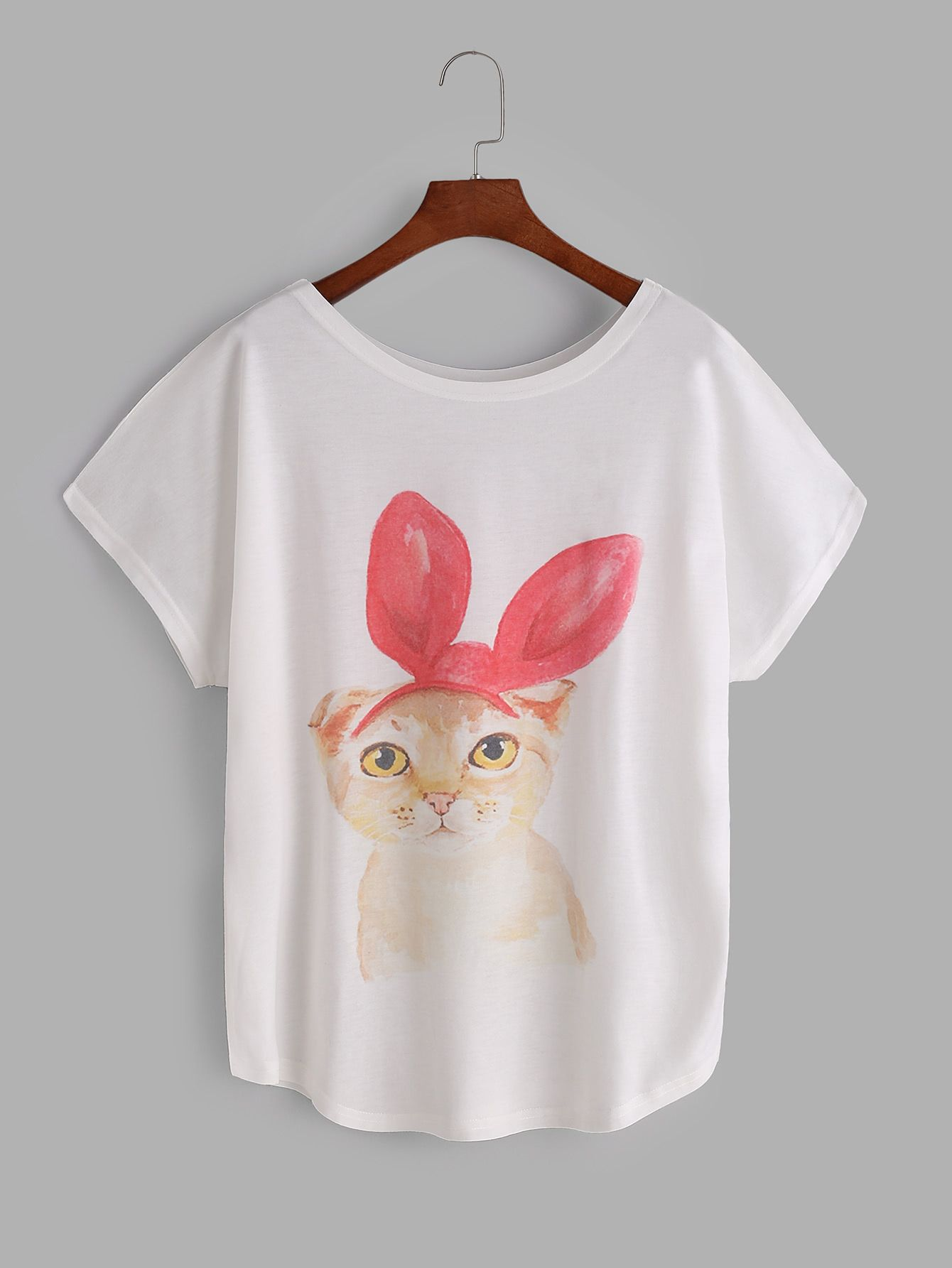 03eba286f Shop White Cat Print Dolman Sleeve T-shirt online. SheIn offers White Cat Print  Dolman Sleeve T-shirt & more to fit your fashionable needs.