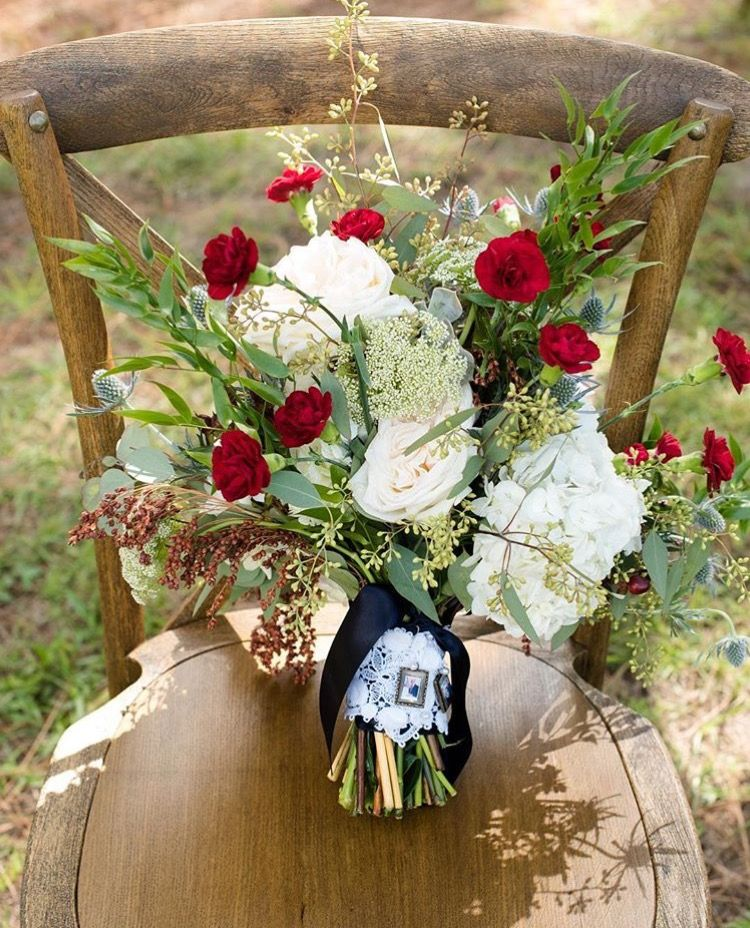A Beautiful Bouquet On A French Country Chair At Skyline Ranch Is The  Definition Of Perfection