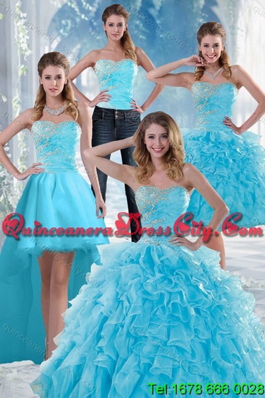 06dd9cd3c1 2015 Detachable and Beautiful Appliques Quince Dresses with Beading and  Ruffles