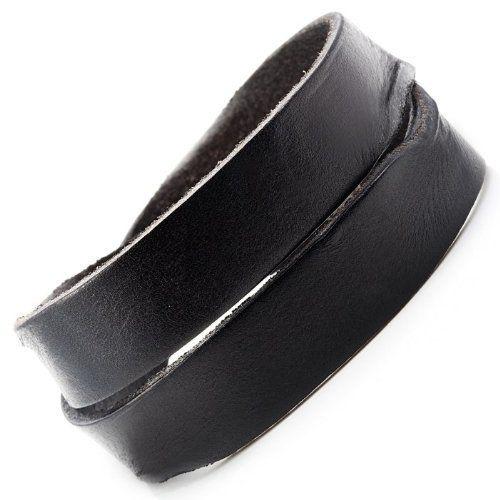 R&B Schmuck Herren Armband Leder - Vintage Style, Unisex Wickelarmband mit Druckknöpfen (Schwarz): 14,90€