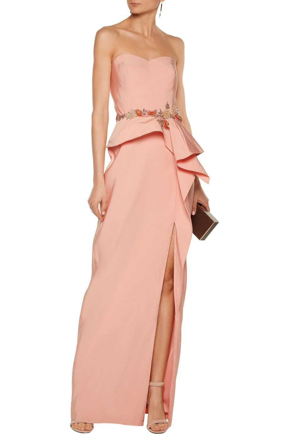 Shop on-sale Marchesa Notte Ruffled embellished crepe gown. Browse other  discount designer Dresses