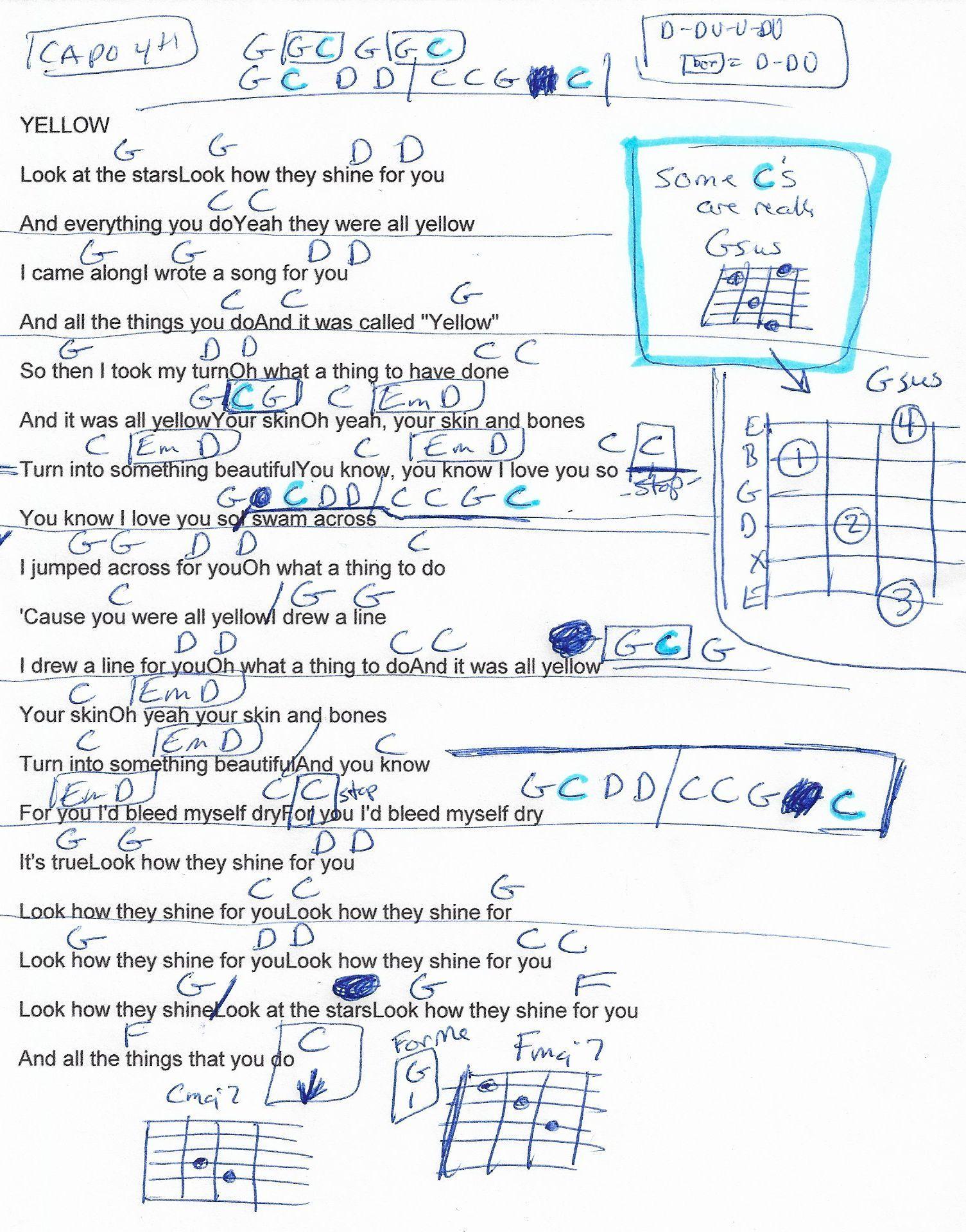 Yellow Coldplay Guitar Chord Chart Capo 4th Fret Guitar Chords For Songs Easy Guitar Songs Coldplay Chords