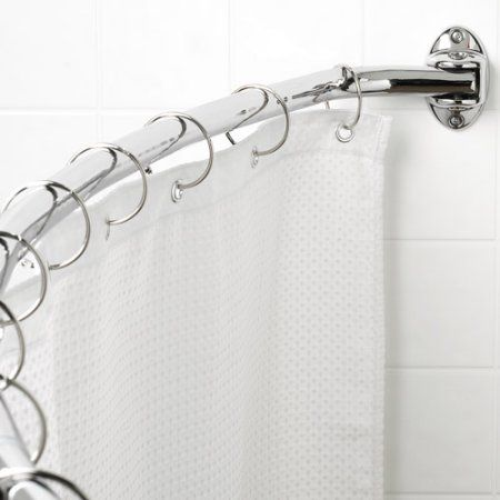 Canopy Curved Hotel Shower Rod, Chrome, Silver | Shower rod, Canopy ...