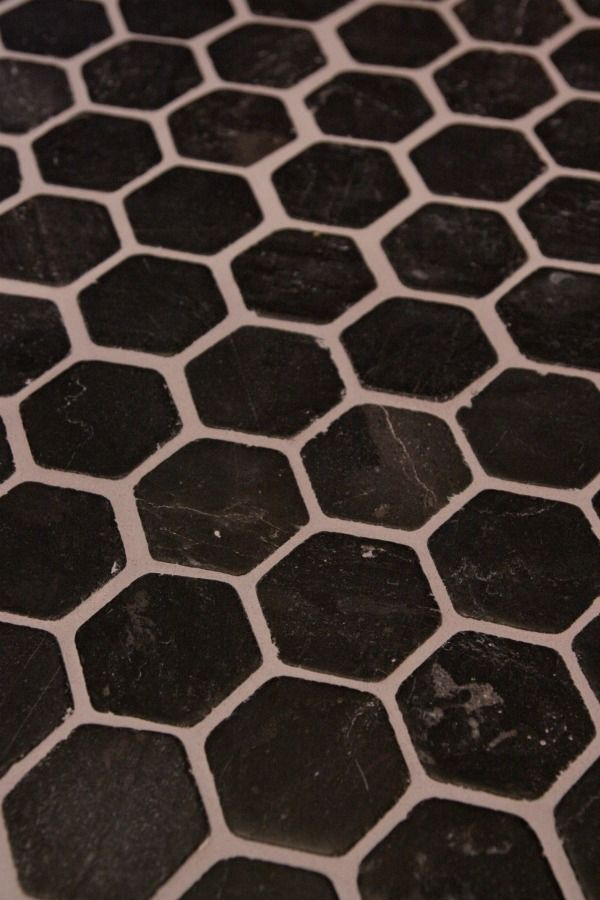 Black Hexagon Floor With Gray Grout Tile Grey Grout