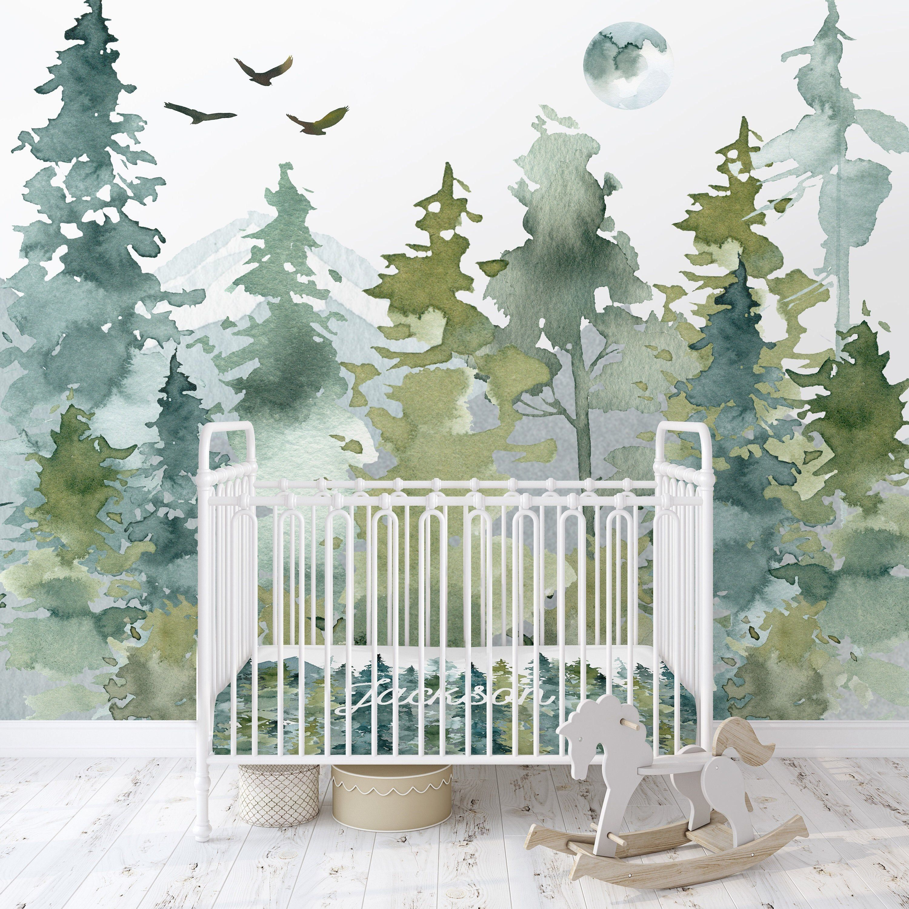 Woodland Wallpaper Peel And Stick Removable Baby Boy Nursery Decor Country Watercolor Woodland In 2020 Woodland Wallpaper Baby Boy Nursery Decor Nursery Mural