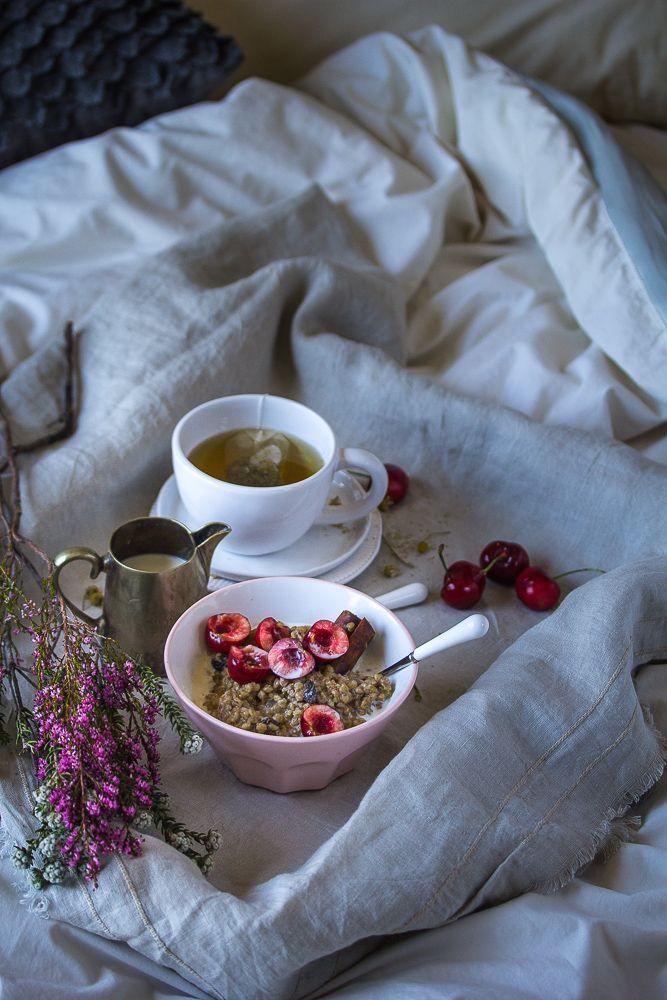 Buckwheat and Ginger Porridge with Fresh Cherries | Swati Bansal Rao