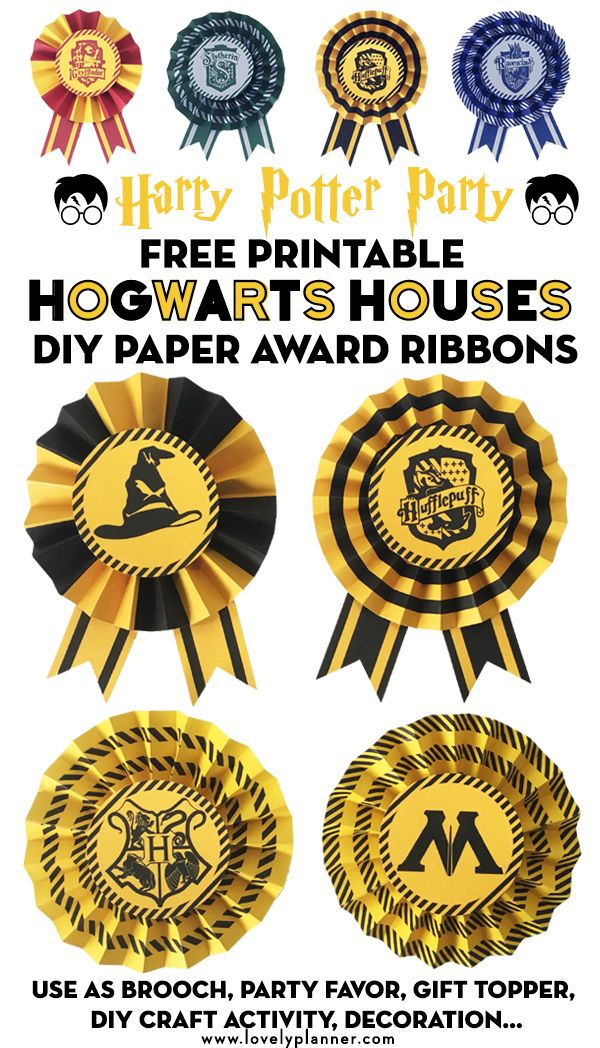Free Printable Hogwarts Houses DIY Paper Award Ribbons To Create Awesome Party Favors Or Decoration For Your Harry Potter Gryffindor Slytherin