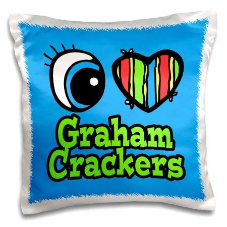 3dRose Bright Eye Heart I Love Graham Crackers, Pillow Case, 16 by 16-inch
