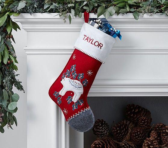 Polar Bear Nordic Wool Stocking | Pottery Barn Kids | Christmas ...