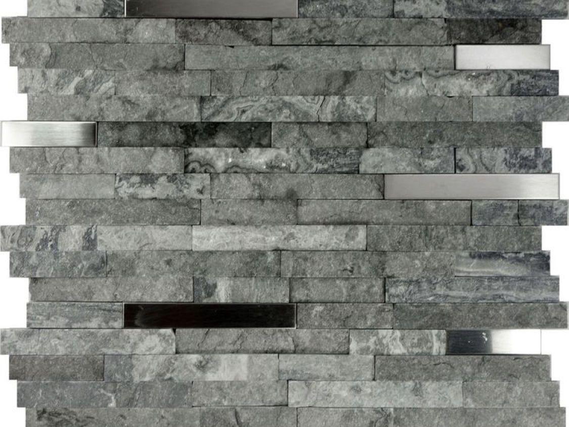Gray Natural Stone Stainless Steel Insert Mosaic Tile Ebay In 2021 Stone Backsplash Kitchen Stone Backsplash Mosaic Tile Backsplash Kitchen
