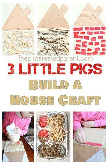 three little pigs kid s craft activity build a straw stick