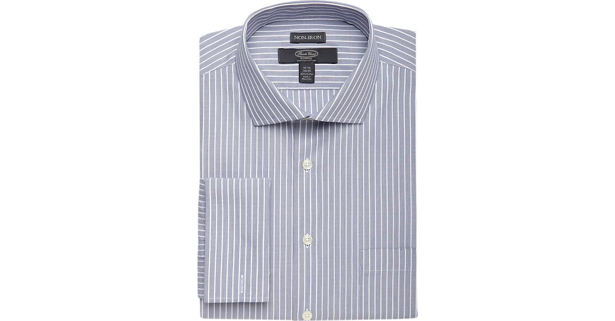 Check this out! Pronto Uomo Platinum French Cuff Classic Fit Non-Iron Dress Shirt, Navy Stripe - Classic Fit from MensWearhouse. #MensWearhouse