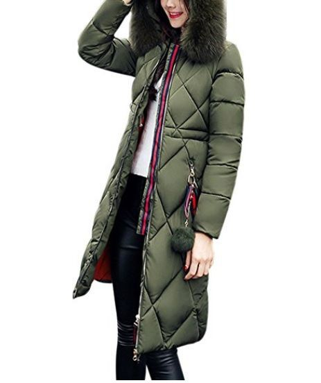 Plumas verde con pompon y capucha  Amazon  Abrigosmujer  Modaotoño invierno   Outfits eca0475292d2