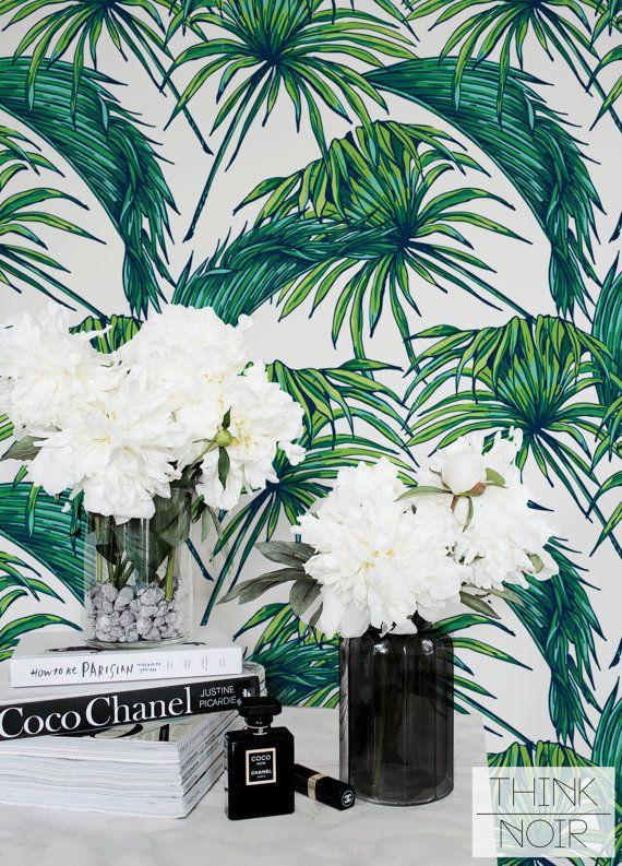 tropic palm leaf wallpaper removable regular palm wallpaper leaf wall mural green leaves. Black Bedroom Furniture Sets. Home Design Ideas