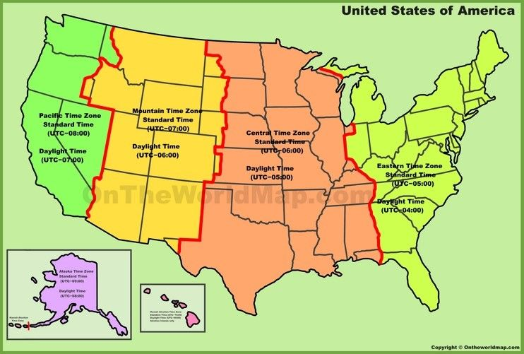 Usa Time Zone Map Time Zone Map Map Time Zones Us time zone worksheets