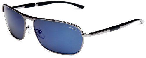 1aebff6a876 Police Soft Rectangle Men s Sunglasses Gunmetal Blue Mirror One Size ...